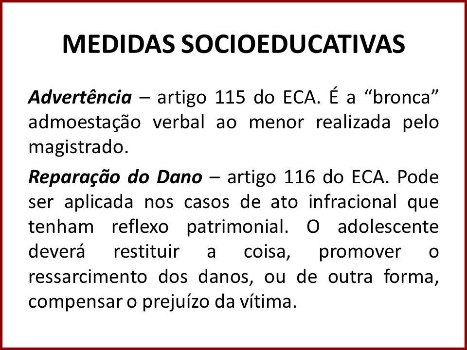 MEDIDAS SOCIOEDUCATIVAS Advertência – artigo 115 do ECA. É a bronca admoestação verbal ao menor realizada pelo magistrado. Reparação do Dano – artigo