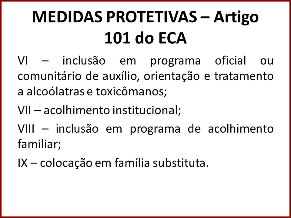 MEDIDAS PROTETIVAS – Artigo 101 do ECA VI – inclusão em programa oficial ou comunitário de auxílio, orientação e tratamento a alcoólatras e toxicômano