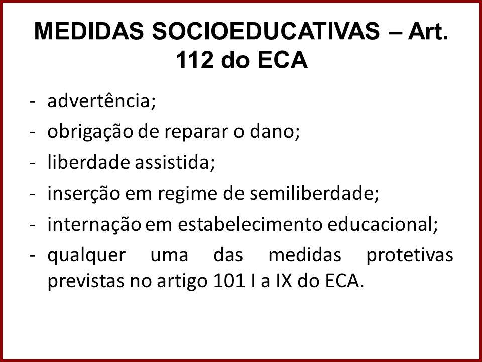 MEDIDAS SOCIOEDUCATIVAS – Art. 112 do ECA -advertência; -obrigação de reparar o dano; -liberdade assistida; -inserção em regime de semiliberdade; -int
