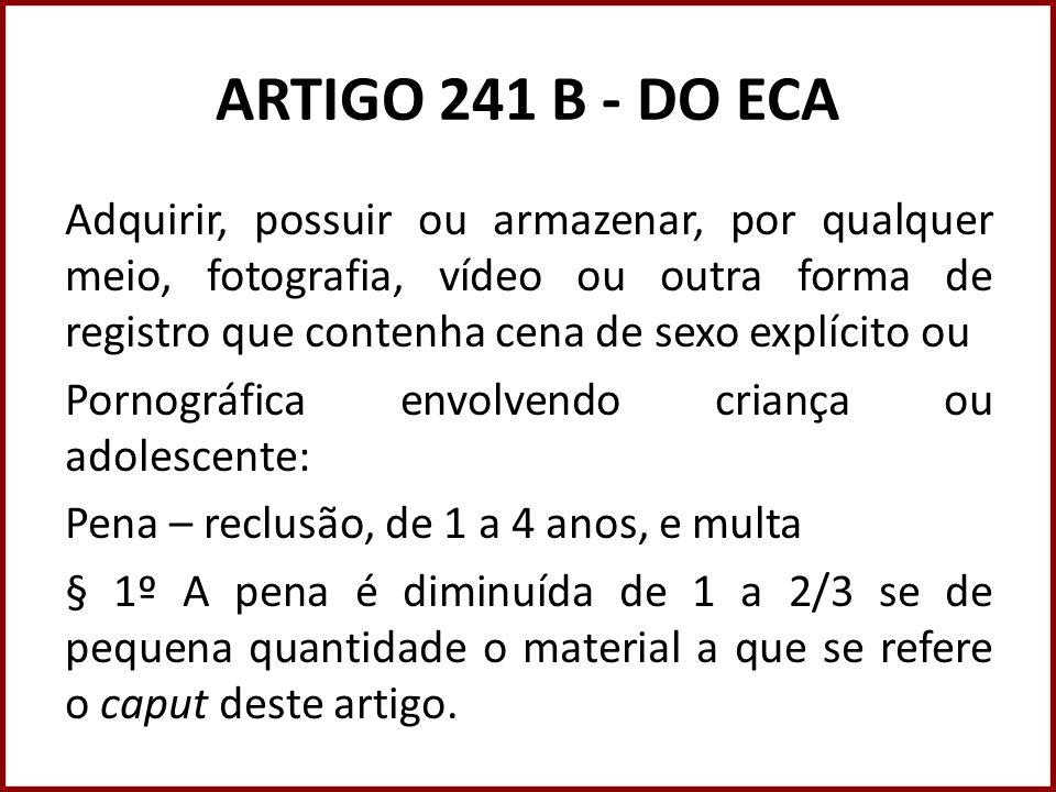 ARTIGO 241 B - DO ECA Adquirir, possuir ou armazenar, por qualquer meio, fotografia, vídeo ou outra forma de registro que contenha cena de sexo explíc