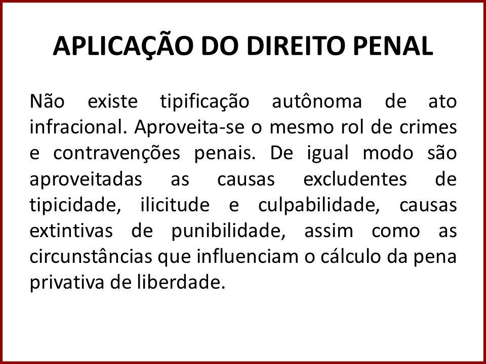 APLICAÇÃO DO DIREITO PENAL Não existe tipificação autônoma de ato infracional. Aproveita-se o mesmo rol de crimes e contravenções penais. De igual mod