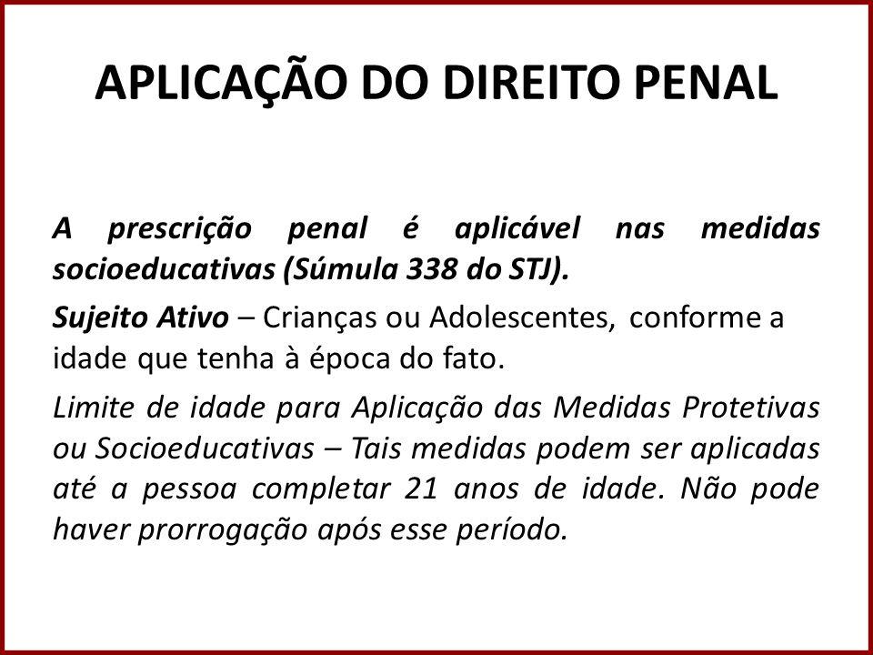 APLICAÇÃO DO DIREITO PENAL Tempo do Ato Infracional – artigo 104, parágrafo único do ECA.