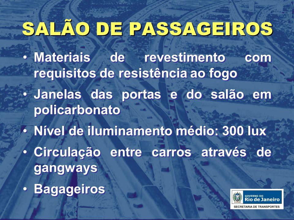 SALÃO DE PASSAGEIROS Materiais de revestimento com requisitos de resistência ao fogo Janelas das portas e do salão em policarbonato Nível de iluminame