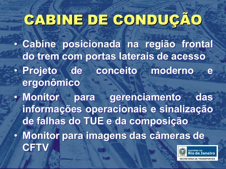 CABINE DE CONDUÇÃO Cabine posicionada na região frontal do trem com portas laterais de acesso Projeto de conceito moderno e ergonômico Monitor para ge