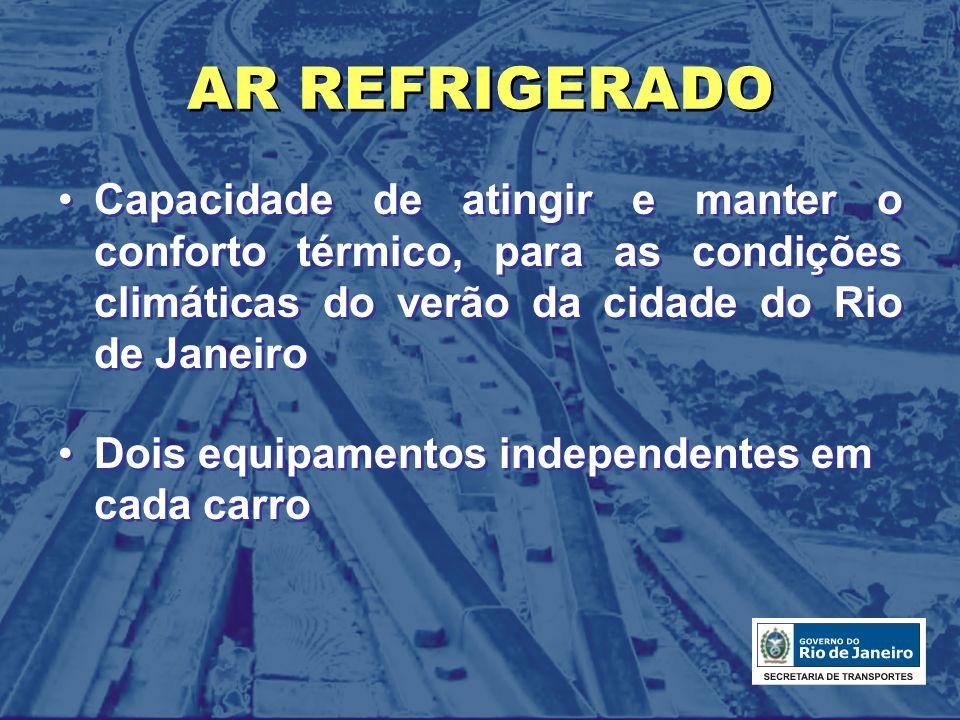 AR REFRIGERADO Capacidade de atingir e manter o conforto térmico, para as condições climáticas do verão da cidade do Rio de Janeiro Dois equipamentos