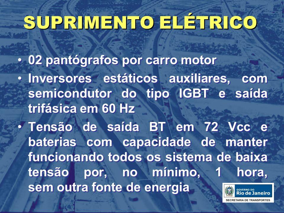 SUPRIMENTO ELÉTRICO 02 pantógrafos por carro motor Inversores estáticos auxiliares, com semicondutor do tipo IGBT e saída trifásica em 60 Hz Tensão de