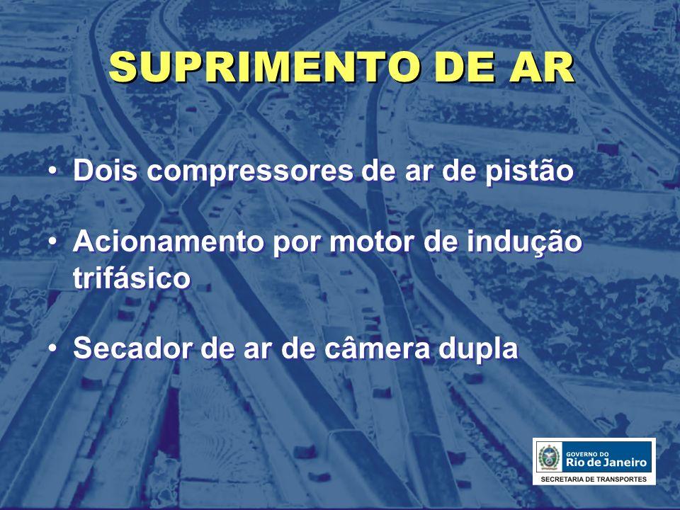 SUPRIMENTO DE AR Dois compressores de ar de pistão Acionamento por motor de indução trifásico Secador de ar de câmera dupla Dois compressores de ar de