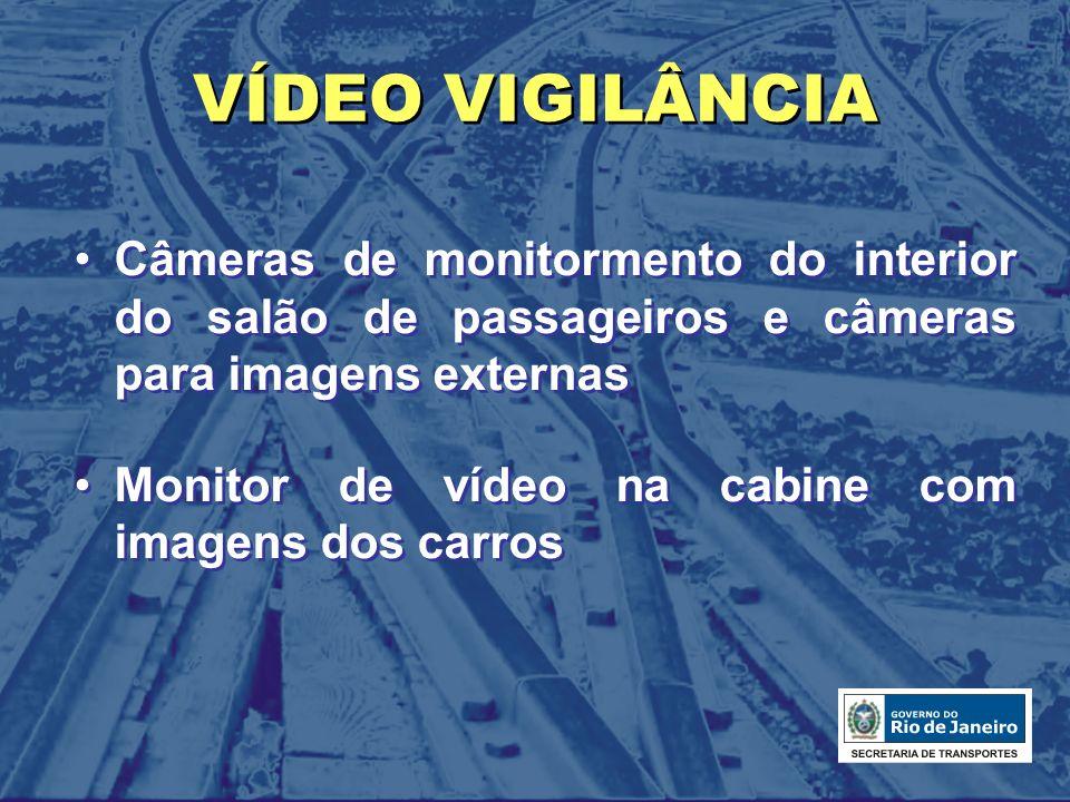 VÍDEO VIGILÂNCIA Câmeras de monitormento do interior do salão de passageiros e câmeras para imagens externas Monitor de vídeo na cabine com imagens do