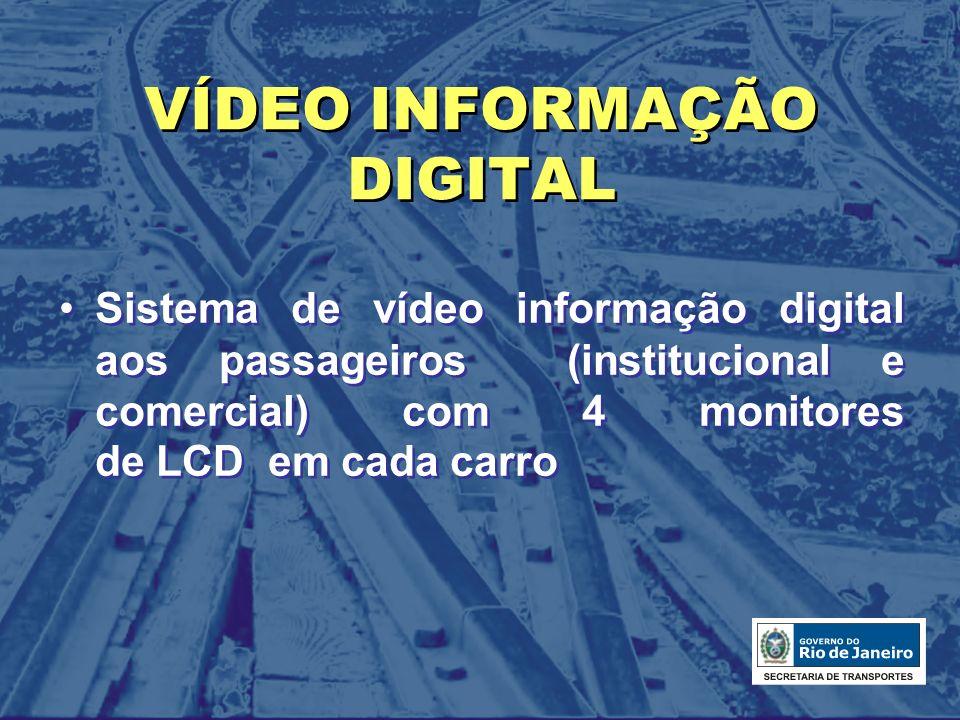VÍDEO INFORMAÇÃO DIGITAL Sistema de vídeo informação digital aos passageiros (institucional e comercial) com 4 monitores de LCD em cada carro