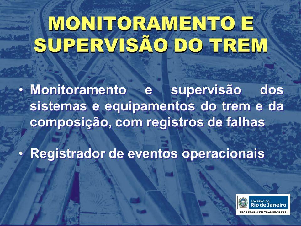 MONITORAMENTO E SUPERVISÃO DO TREM Monitoramento e supervisão dos sistemas e equipamentos do trem e da composição, com registros de falhas Registrador
