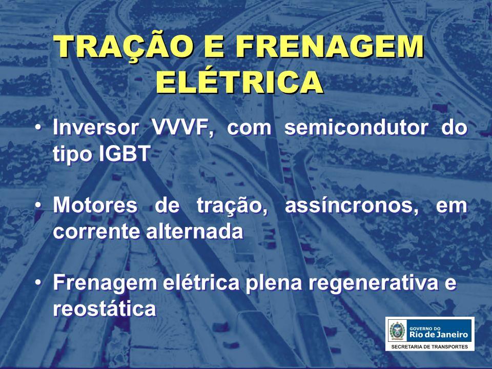 TRAÇÃO E FRENAGEM ELÉTRICA Inversor VVVF, com semicondutor do tipo IGBT Motores de tração, assíncronos, em corrente alternada Frenagem elétrica plena