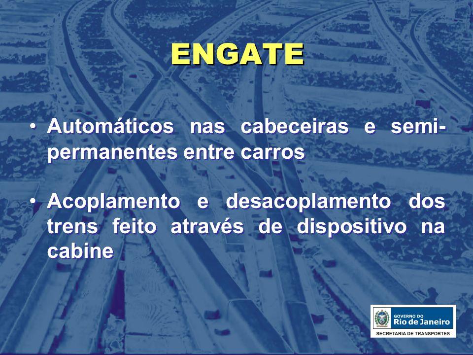 ENGATE Automáticos nas cabeceiras e semi- permanentes entre carros Acoplamento e desacoplamento dos trens feito através de dispositivo na cabine Autom