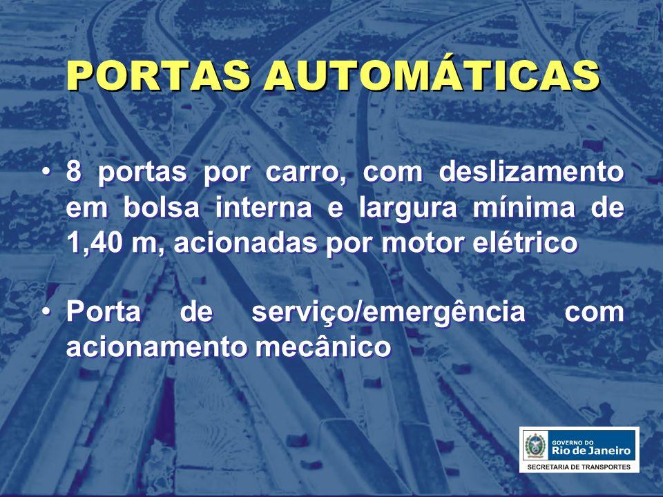 PORTAS AUTOMÁTICAS 8 portas por carro, com deslizamento em bolsa interna e largura mínima de 1,40 m, acionadas por motor elétrico Porta de serviço/eme