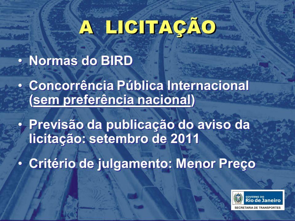 A LICITAÇÃO Normas do BIRD Concorrência Pública Internacional (sem preferência nacional) Previsão da publicação do aviso da licitação: setembro de 201