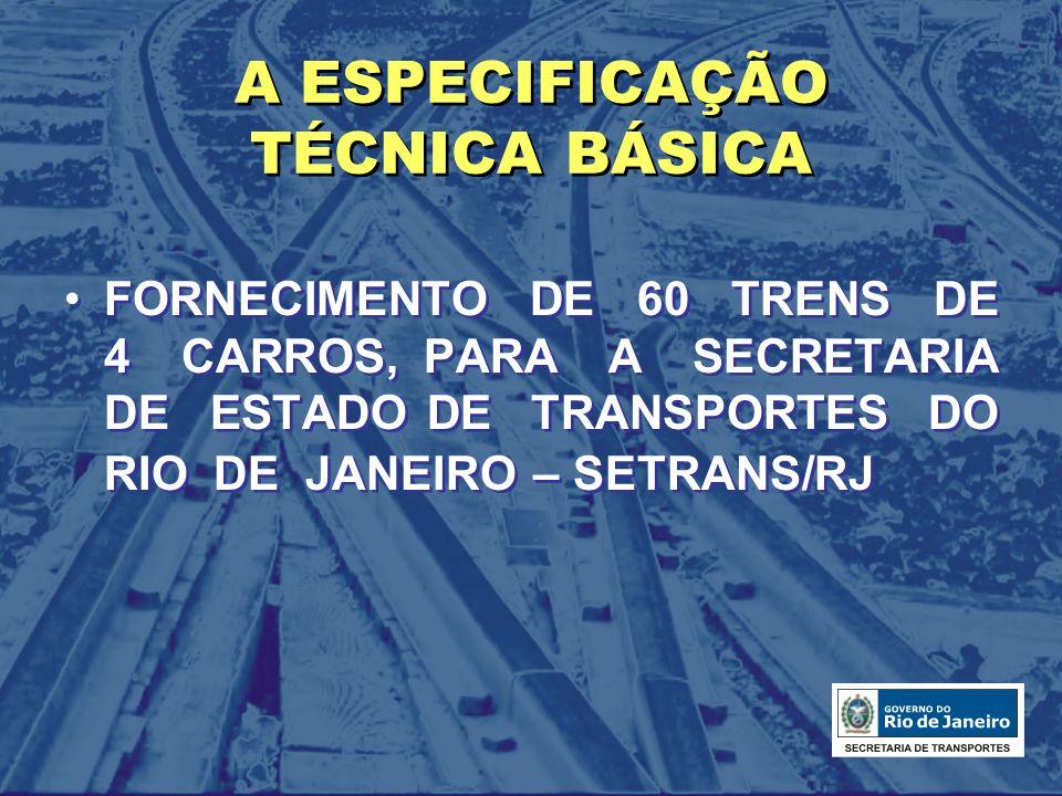 REQUISITOS BÁSICOS Capacidade: 1300 passageiros Formação do TUE: M+R+R+M Formação da composição operacional: 1 a 3 TUEs Bitola da via: 1.600 mm Caixa: Aço inoxidável austenítico, Padrão AAR (carga estática mínima de compressão = 363 ton.) Comprimento: 22.000 mm + 1%/ - 2% Largura: entre 2.970 mm e 2.980 mm Altura do piso a partir do topo dos trilhos: 1.305 mm Carga máxima por eixo: 16.000 daN Rampa máxima: 2% Raio mínimo em pátios: 78 m Alimentação: 3.000 Vcc (catenária) Capacidade: 1300 passageiros Formação do TUE: M+R+R+M Formação da composição operacional: 1 a 3 TUEs Bitola da via: 1.600 mm Caixa: Aço inoxidável austenítico, Padrão AAR (carga estática mínima de compressão = 363 ton.) Comprimento: 22.000 mm + 1%/ - 2% Largura: entre 2.970 mm e 2.980 mm Altura do piso a partir do topo dos trilhos: 1.305 mm Carga máxima por eixo: 16.000 daN Rampa máxima: 2% Raio mínimo em pátios: 78 m Alimentação: 3.000 Vcc (catenária)