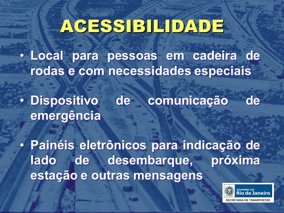 ACESSIBILIDADE Local para pessoas em cadeira de rodas e com necessidades especiais Dispositivo de comunicação de emergência Painéis eletrônicos para i