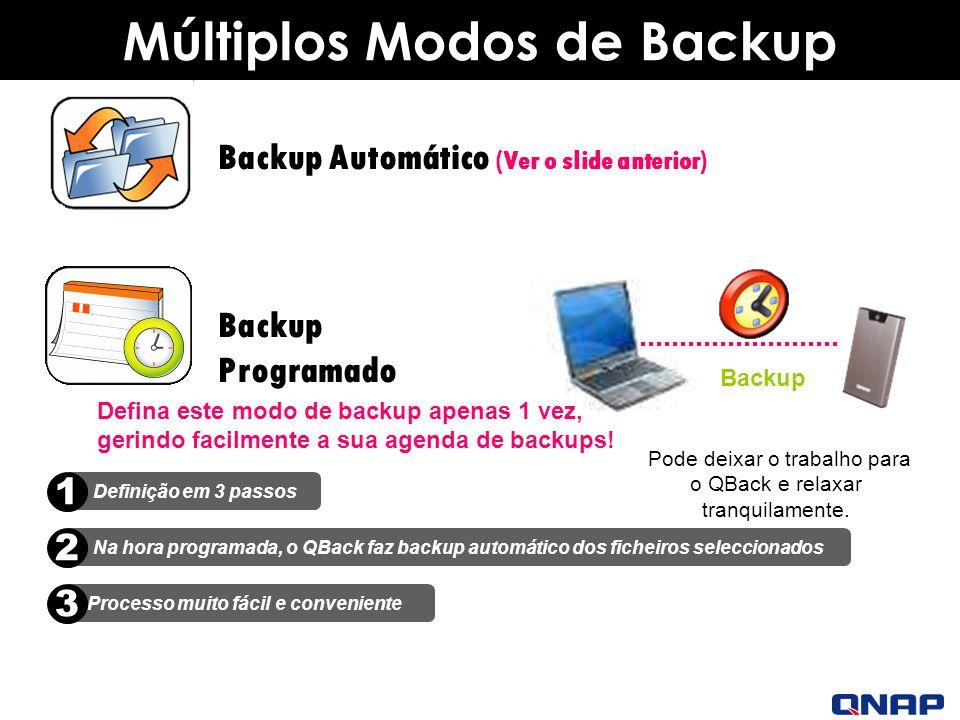 Múltiplos Modos de Backup Backup Programado Defina este modo de backup apenas 1 vez, gerindo facilmente a sua agenda de backups.