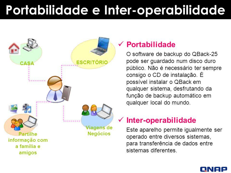 Portabilidade e Inter-operabilidade Portabilidade O software de backup do QBack-25 pode ser guardado num disco duro público.