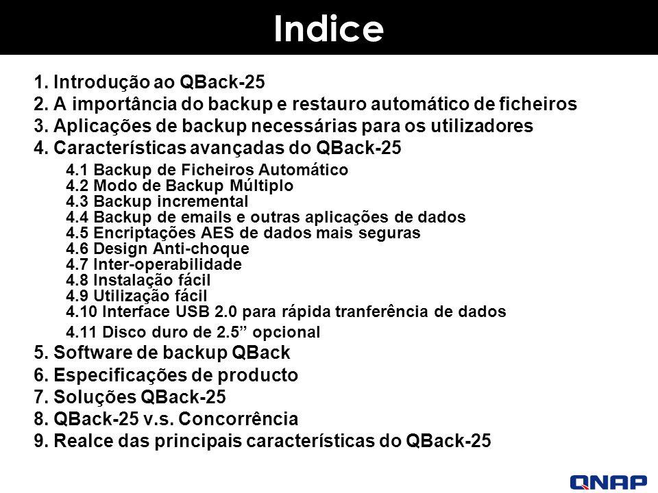 Indice 1.Introdução ao QBack-25 2. A importância do backup e restauro automático de ficheiros 3.