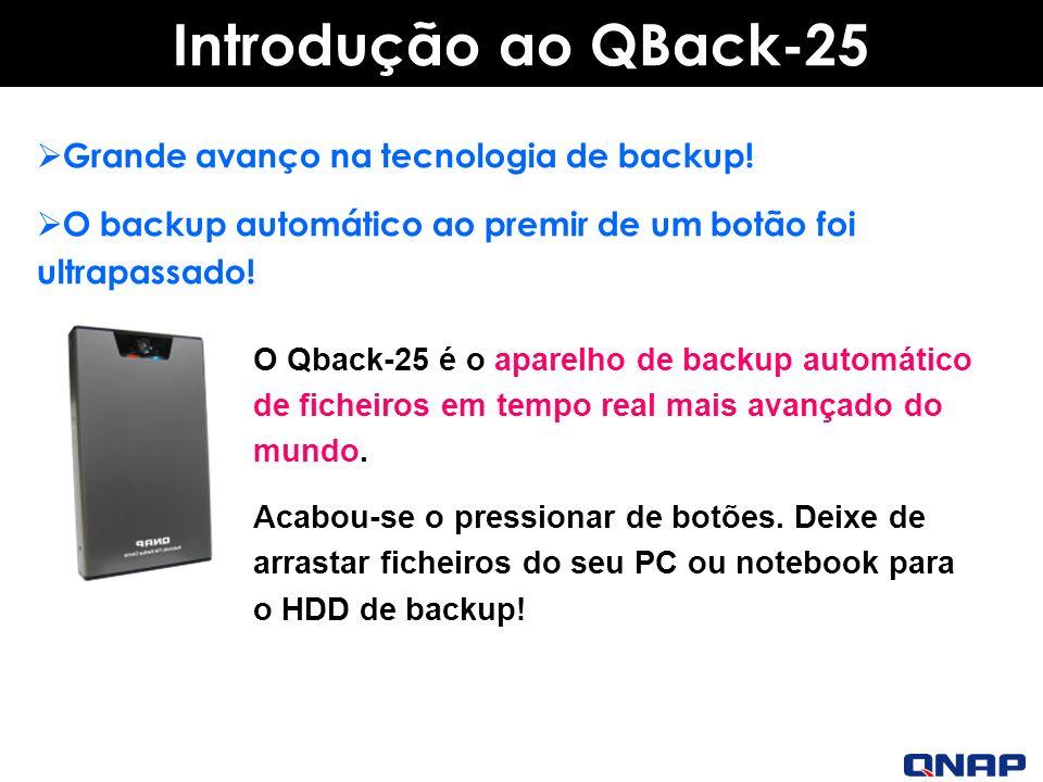 Introdução ao QBack-25 O Qback-25 é o aparelho de backup automático de ficheiros em tempo real mais avançado do mundo.