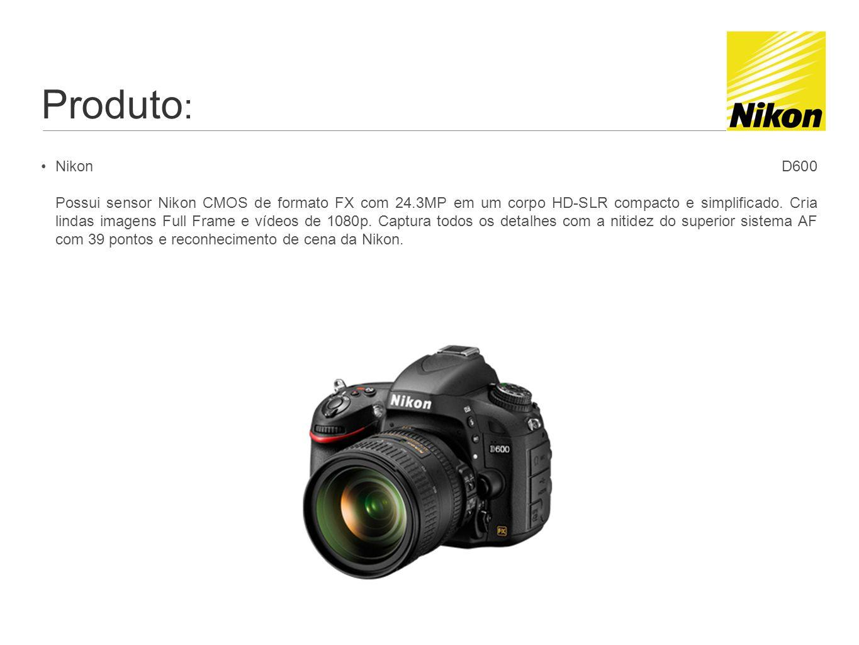Produto : Nikon D600 Possui sensor Nikon CMOS de formato FX com 24.3MP em um corpo HD-SLR compacto e simplificado.