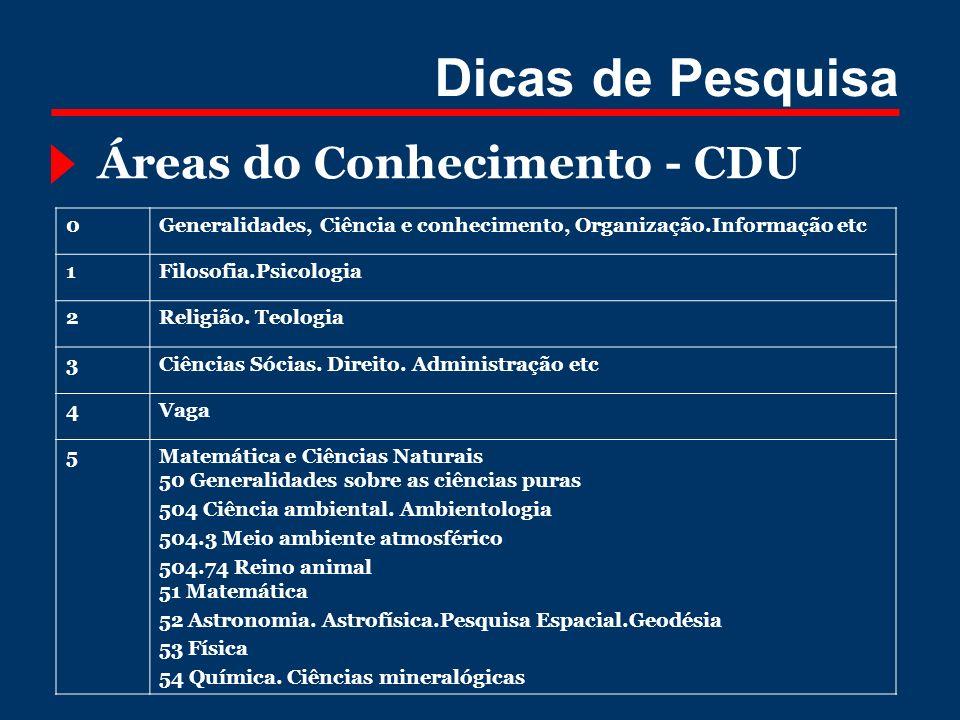 Dicas de Pesquisa Áreas do Conhecimento - CDU 0Generalidades, Ciência e conhecimento, Organização.Informação etc 1Filosofia.Psicologia 2Religião. Teol