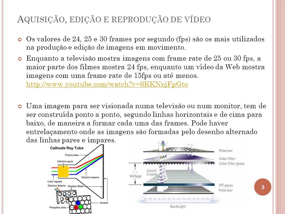 A QUISIÇÃO, EDIÇÃO E REPRODUÇÃO DE VÍDEO Os valores de 24, 25 e 30 frames por segundo (fps) são os mais utilizados na produção e edição de imagens em