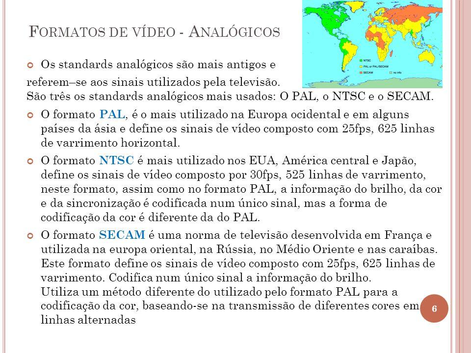 F ORMATOS DE VÍDEO - A NALÓGICOS Os standards analógicos são mais antigos e referem–se aos sinais utilizados pela televisão. São três os standards ana