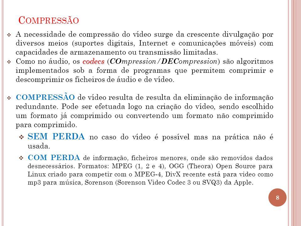 C OMPRESSÃO A necessidade de compressão do vídeo surge da crescente divulgação por diversos meios (suportes digitais, Internet e comunicações móveis)