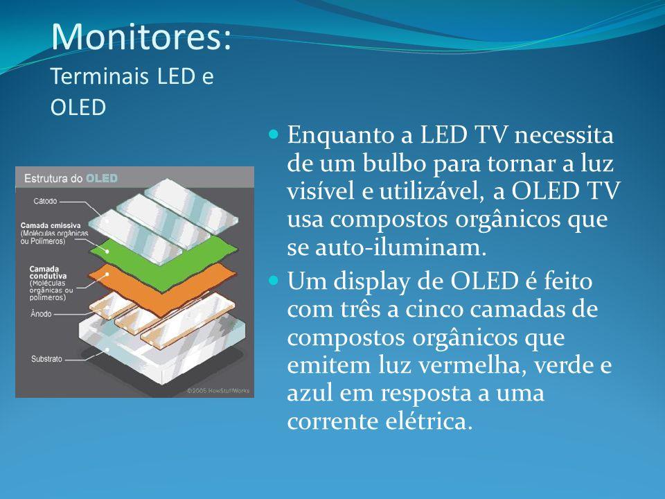Monitores: Terminais LED e OLED Enquanto a LED TV necessita de um bulbo para tornar a luz visível e utilizável, a OLED TV usa compostos orgânicos que