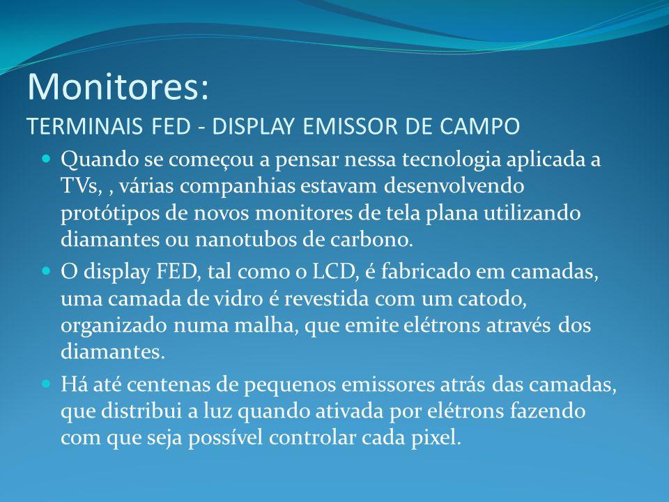 Monitores: TERMINAIS FED - DISPLAY EMISSOR DE CAMPO Quando se começou a pensar nessa tecnologia aplicada a TVs,, várias companhias estavam desenvolven