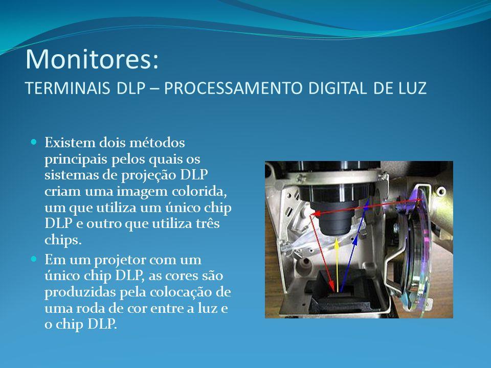 Monitores: TERMINAIS DLP – PROCESSAMENTO DIGITAL DE LUZ Existem dois métodos principais pelos quais os sistemas de projeção DLP criam uma imagem color