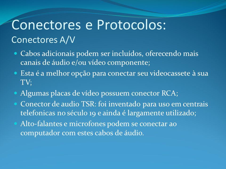 Conectores e Protocolos: Conectores A/V Cabos adicionais podem ser incluídos, oferecendo mais canais de áudio e/ou vídeo componente; Esta é a melhor o