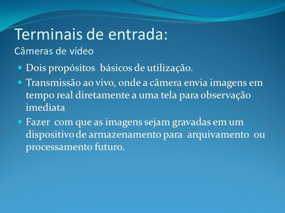 Terminais de entrada: Câmeras de vídeo Dois propósitos básicos de utilização. Transmissão ao vivo, onde a câmera envia imagens em tempo real diretamen