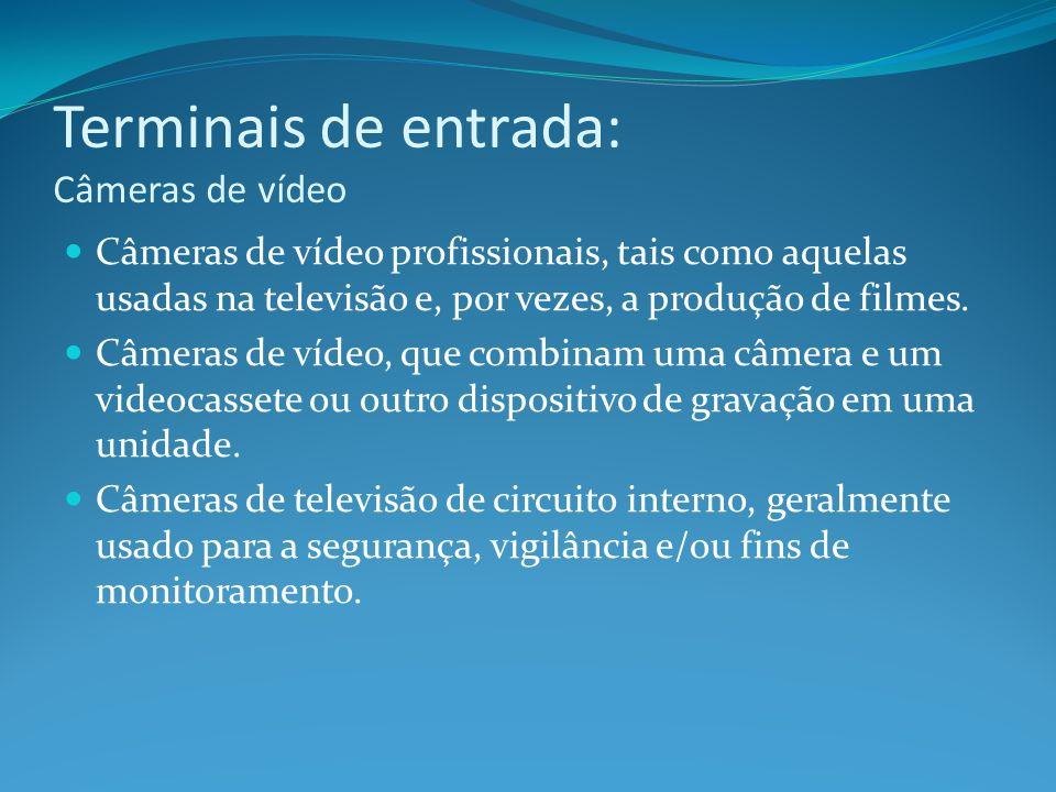 Terminais de entrada: Câmeras de vídeo Câmeras de vídeo profissionais, tais como aquelas usadas na televisão e, por vezes, a produção de filmes. Câmer