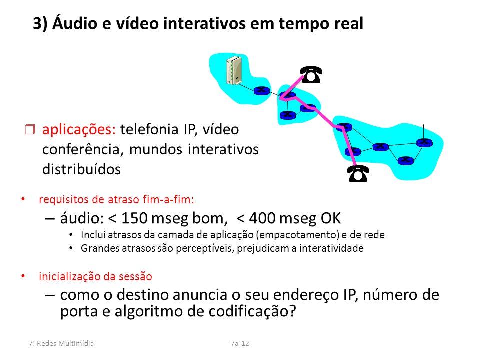 7: Redes Multimídia7a-12 3) Áudio e vídeo interativos em tempo real requisitos de atraso fim-a-fim: – áudio: < 150 mseg bom, < 400 mseg OK Inclui atra