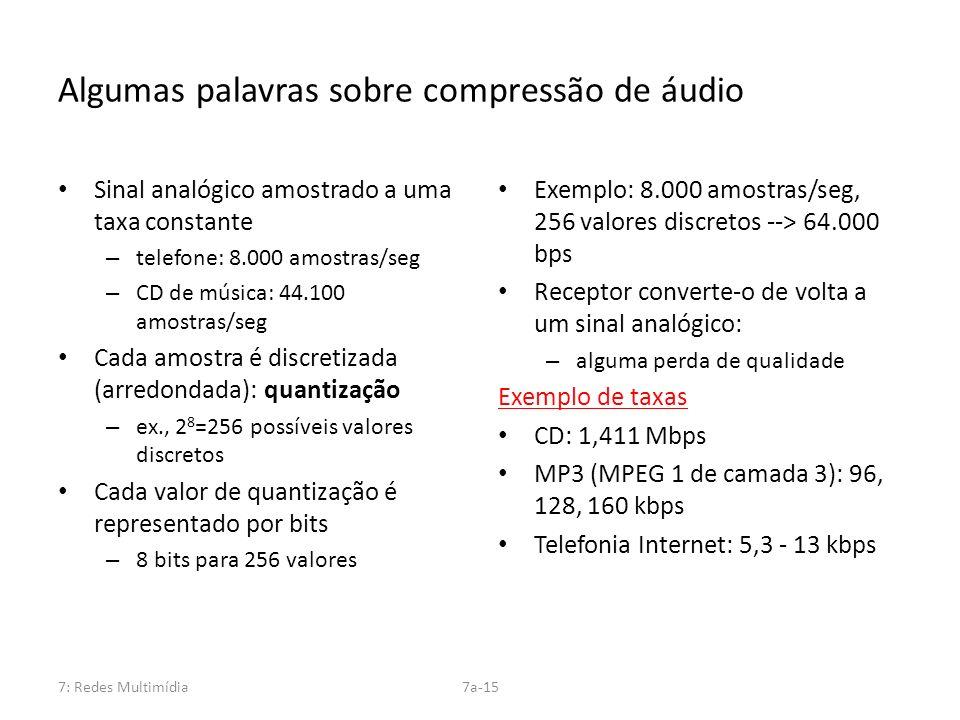 7: Redes Multimídia7a-15 Algumas palavras sobre compressão de áudio Sinal analógico amostrado a uma taxa constante – telefone: 8.000 amostras/seg – CD