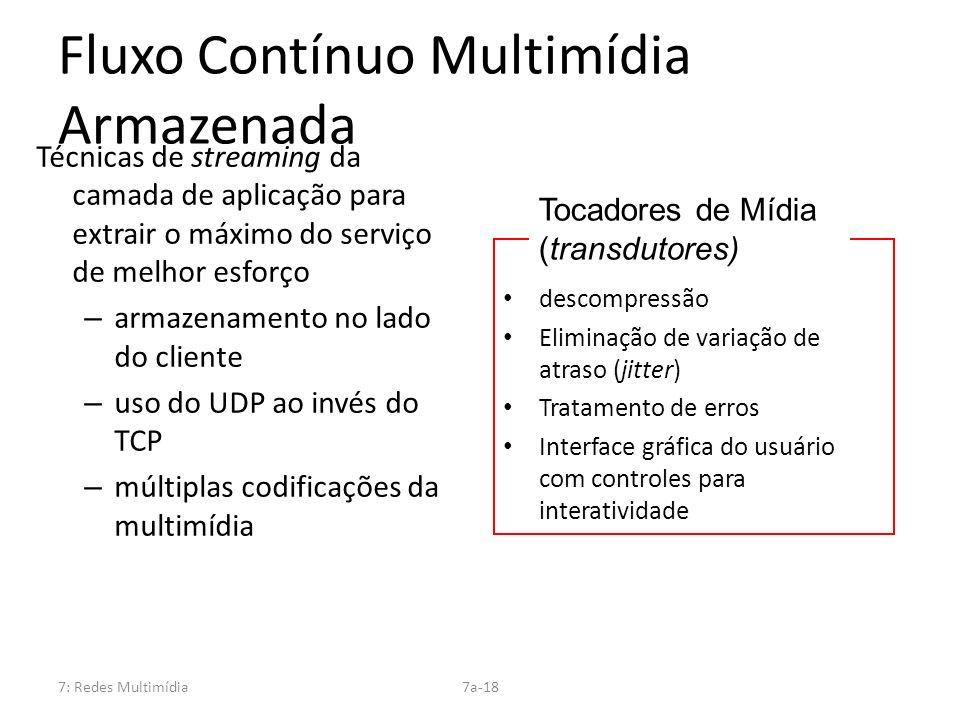 7: Redes Multimídia7a-18 Fluxo Contínuo Multimídia Armazenada Técnicas de streaming da camada de aplicação para extrair o máximo do serviço de melhor