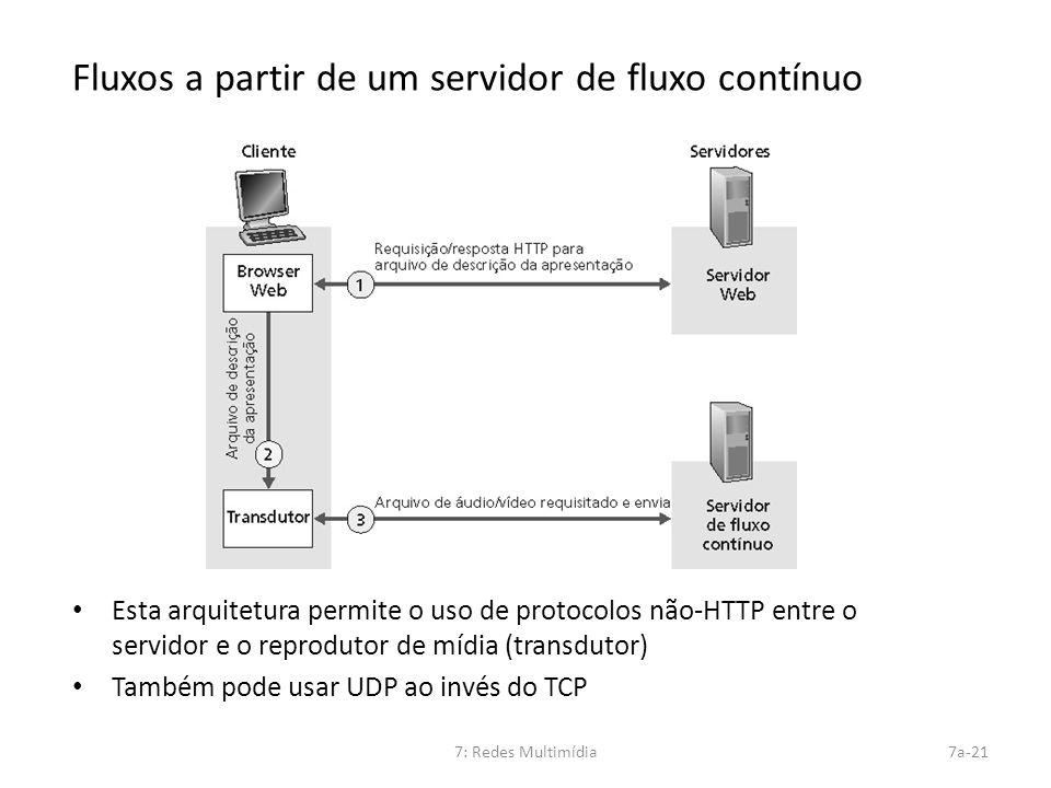 7: Redes Multimídia7a-21 Fluxos a partir de um servidor de fluxo contínuo Esta arquitetura permite o uso de protocolos não-HTTP entre o servidor e o r