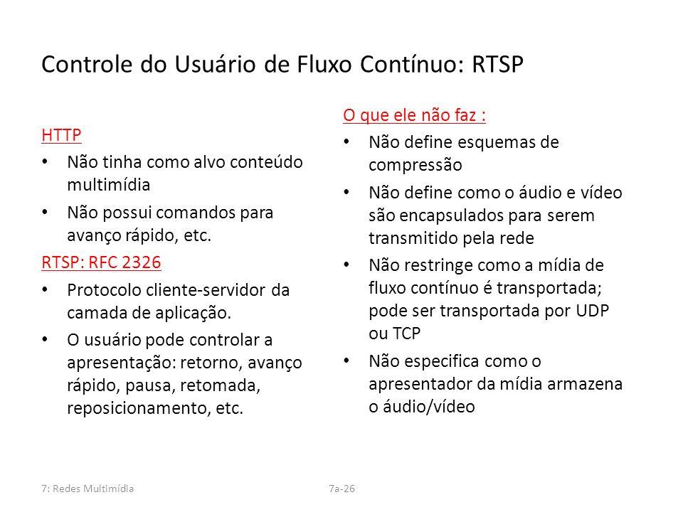 7: Redes Multimídia7a-26 Controle do Usuário de Fluxo Contínuo: RTSP HTTP Não tinha como alvo conteúdo multimídia Não possui comandos para avanço rápi