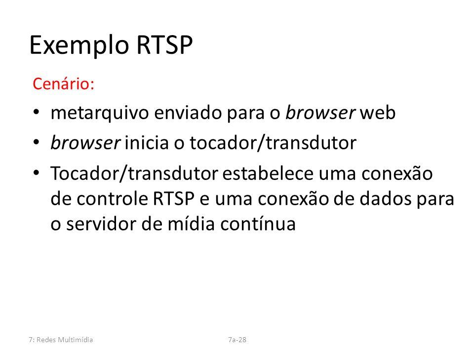 7: Redes Multimídia7a-28 Exemplo RTSP Cenário: metarquivo enviado para o browser web browser inicia o tocador/transdutor Tocador/transdutor estabelece