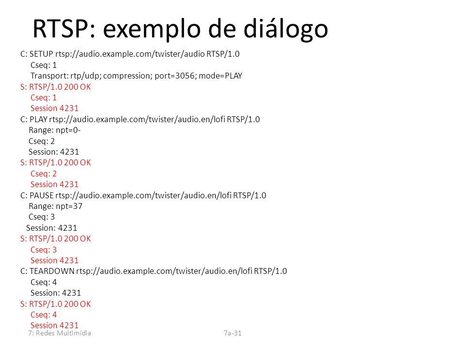 7: Redes Multimídia7a-31 RTSP: exemplo de diálogo C: SETUP rtsp://audio.example.com/twister/audio RTSP/1.0 Cseq: 1 Transport: rtp/udp; compression; po