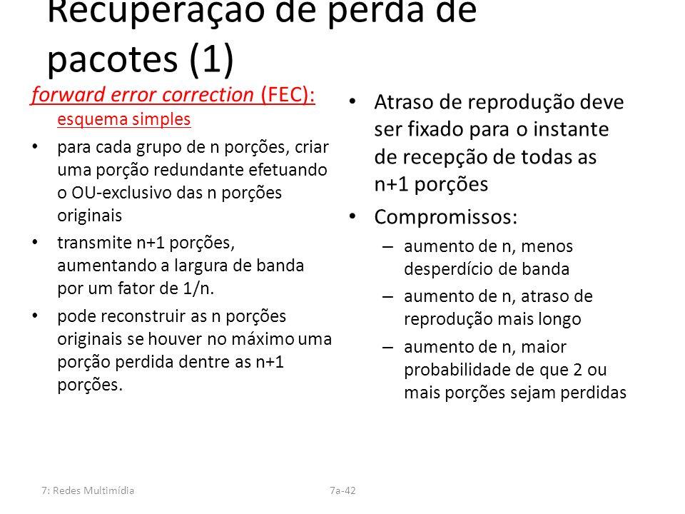 7: Redes Multimídia7a-42 Recuperação de perda de pacotes (1) forward error correction (FEC): esquema simples para cada grupo de n porções, criar uma p