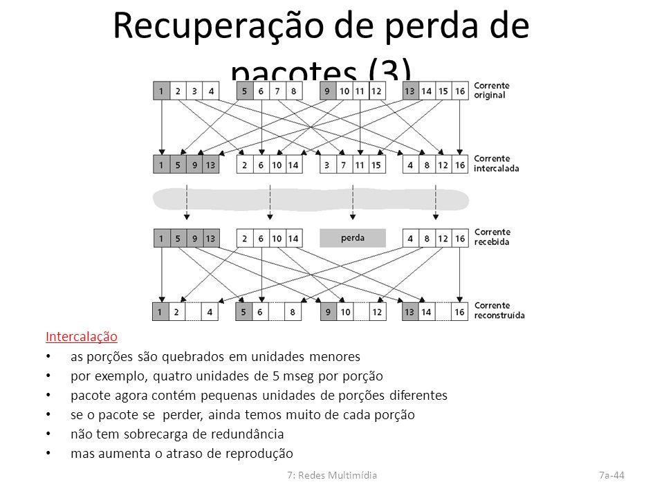 7: Redes Multimídia7a-44 Recuperação de perda de pacotes (3) Intercalação as porções são quebrados em unidades menores por exemplo, quatro unidades de
