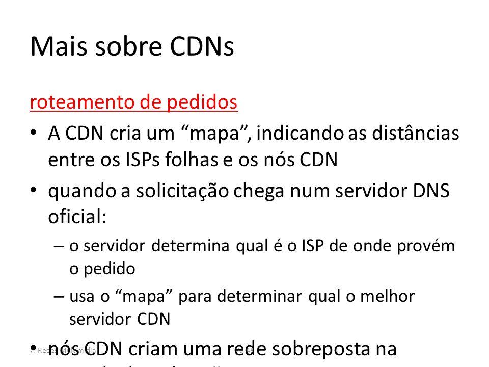 7: Redes Multimídia7a-48 Mais sobre CDNs roteamento de pedidos A CDN cria um mapa, indicando as distâncias entre os ISPs folhas e os nós CDN quando a