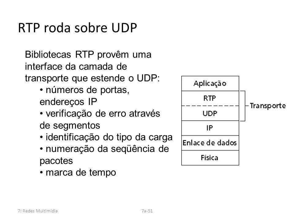 7: Redes Multimídia7a-51 RTP roda sobre UDP Bibliotecas RTP provêm uma interface da camada de transporte que estende o UDP: números de portas, endereç