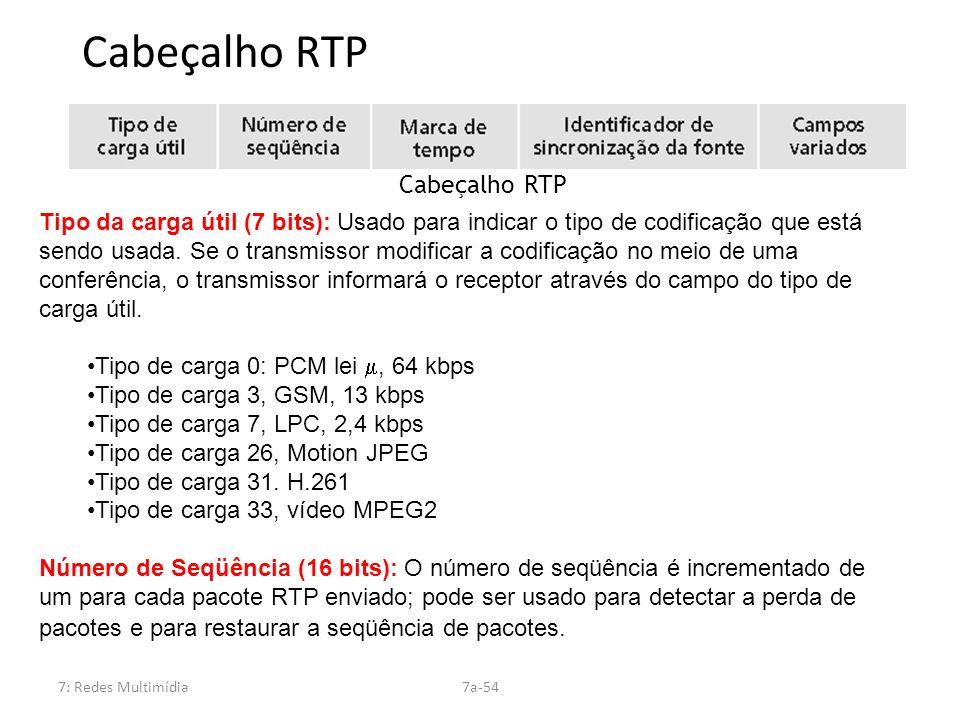 7: Redes Multimídia7a-54 Cabeçalho RTP Tipo da carga útil (7 bits): Usado para indicar o tipo de codificação que está sendo usada. Se o transmissor mo