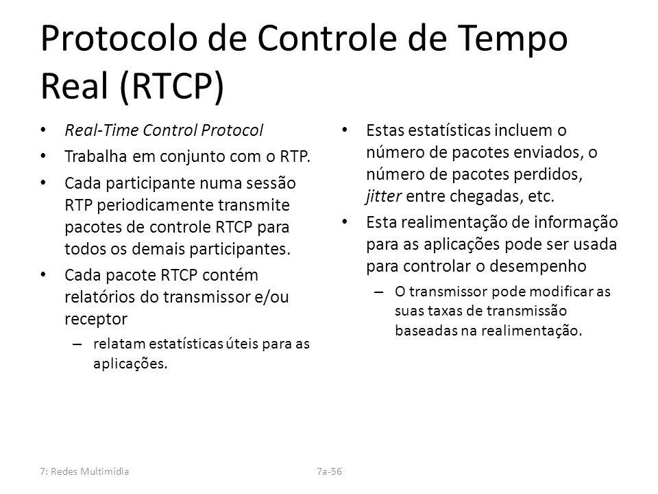 7: Redes Multimídia7a-56 Protocolo de Controle de Tempo Real (RTCP) Real-Time Control Protocol Trabalha em conjunto com o RTP. Cada participante numa