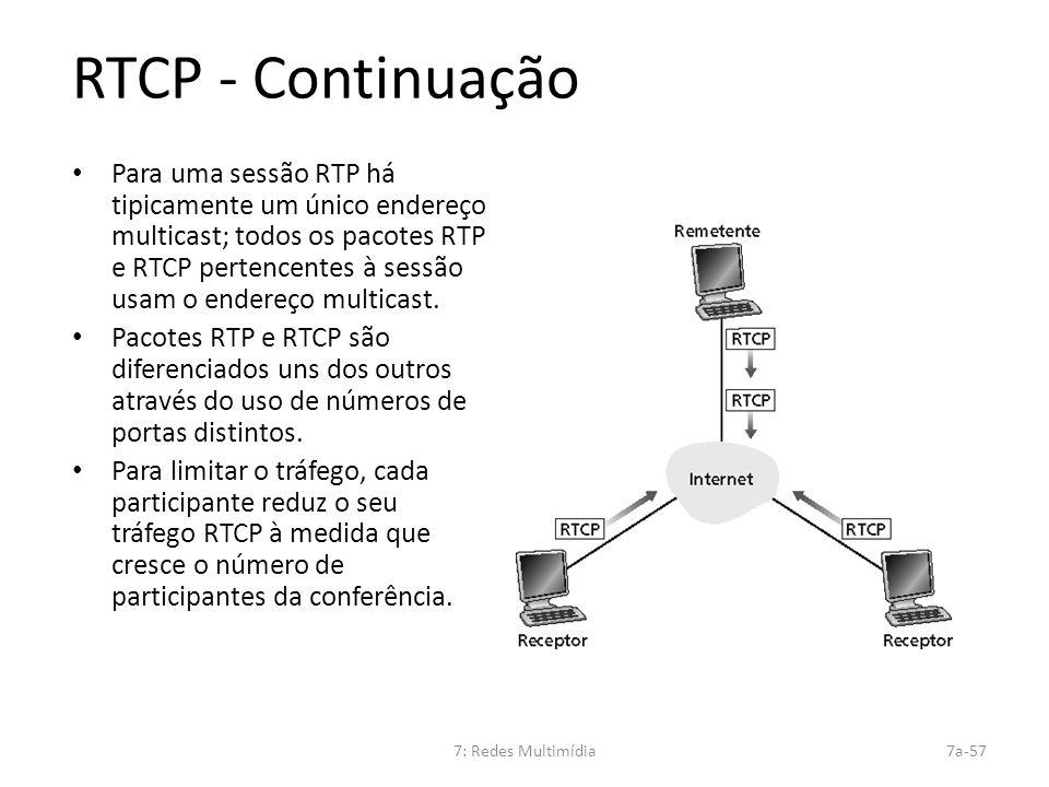 7: Redes Multimídia7a-57 RTCP - Continuação Para uma sessão RTP há tipicamente um único endereço multicast; todos os pacotes RTP e RTCP pertencentes à