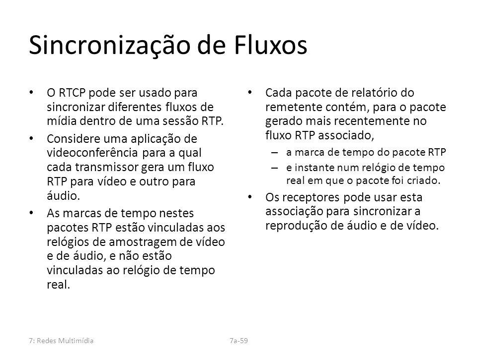 7: Redes Multimídia7a-59 Sincronização de Fluxos O RTCP pode ser usado para sincronizar diferentes fluxos de mídia dentro de uma sessão RTP. Considere